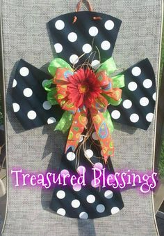 "This Fall  Wood Garden Sign is designed to hang on a garden flag stake (not included), door or wall.  We hand paint the 1/4"" birch wood and decorate the cross with vinyl and ribbon.  There are two holes drilled for hanging (please specify if you would like chain links or ribbon).    The cross m..."