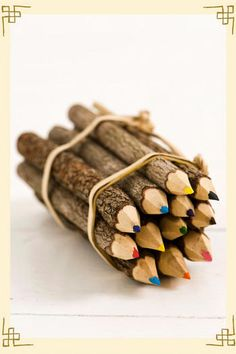 Rustic colored pencils!  if its an outdoor wedding, and maybe you do a goody bag for children 6 and under to keep content during the festivities