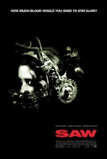 Saw (2004), Evolution Entertainment, Saw Productions Inc., and Twisted Pictures with Leigh Whannell, Cary Elwes, Danny Glover, and Tobin Bell.