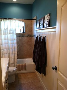 upstairs hall bath. maybe do the wall like this ?