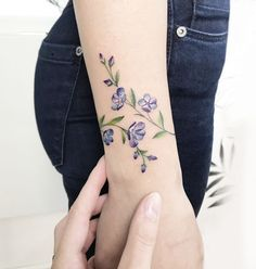 Arm Wrap Tattoo, Wrap Around Wrist Tattoos, Wrap Around Tattoo, Wrist Tattoos For Women, Vine Tattoos, Body Art Tattoos, Small Tattoos, Violet Flower Tattoos, Flower Wrist Tattoos