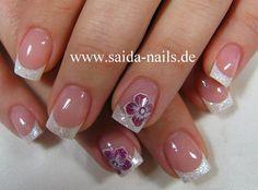 short manicure pink glitter flower