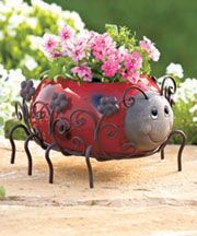 Ceramic and Metal Animal Planters   Lakeside Collections $11.95