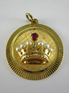 Beautiful Ladies 14k Yellow Gold Pearl Ruby Crown Charm 6 6 Grams | eBay..: