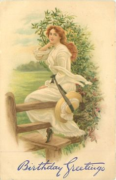 Vintage birthday card depicting a young lady dressed in white sitting on fence railing Vintage Labels, Vintage Cards, Vintage Postcards, Vintage Images, Birthday Postcards, Holiday Postcards, Graphic Design Illustration, Illustration Art, Decoupage Vintage