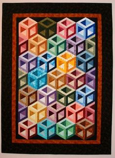 """Hollow Cube Scrappy Quilt – made from Sara Nephew's Big Book of Building Block Quilts. 42"""" x 59"""""""