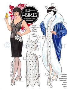 Beautifully illustrated paper doll printed on 8.5x11 card stock. Doll and 8 costumes on 4 sheets.