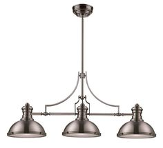 66125-3-LED Chadwick Satin Nickel 3 Lamp Pool Table Light