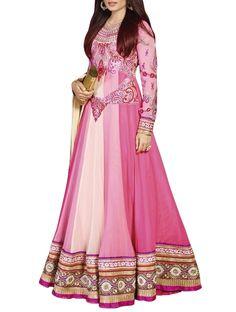 Stunning Pink & Off White Faux Georgette Anarkali Salwar Suit