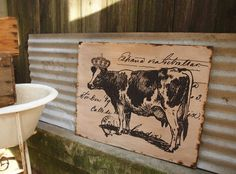 COW WITH CROWN  Wall Decor  Salvaged Wood  by RuPiperDesigns, $90.00