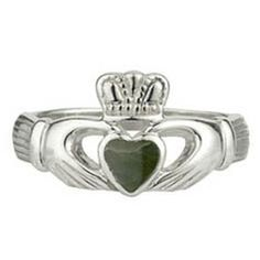 Sterling Silver Claddagh Ring with Connemara Marble, Claddaghs, Jewelry at Celtic Hills