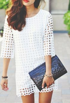 Beatiful shift dress fashion & style on ideas Casual Dresses, Fashion Dresses, Short Dresses, Little White Dresses, Mode Inspiration, Spring Summer Fashion, Summer Chic, Dress Me Up, Passion For Fashion