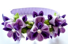 Kanzashi Fabric Flower headband purple orchid and apple by JuLVa, $15.00