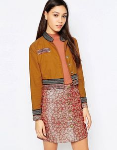 sister jane | Sister Jane Sun Salute Military Jacket With Embroidered Trim at ASOS
