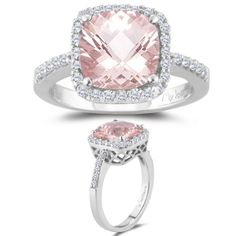 Amazon.com: 0.33 Cts Diamond & 1.62 Cts Morganite Ring in 14K White Gold-8.0: Jewelry