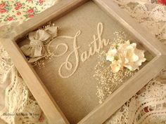 Hand stitched 'Faith' box frame home decor rustic by TheChicPatch