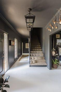 Grey gray wall Alyssa Rosenheck with Elle Decor and Sean Anderson Design Black Walls White Floors Entry Elle Decor, Gothic Interior, Interior Modern, Modern Furniture, Furniture Design, Grey Ceiling, Ceiling Fan, Modern Gothic, Grey Houses
