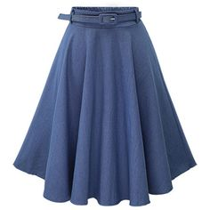 Blue Solid Color Elastic Waist A Line Midi Denim Skirt ($28) ❤ liked on Polyvore featuring skirts, blue, high waisted a line skirt, circle skirt, blue midi skirt, denim circle skirt and high-waisted midi skirts