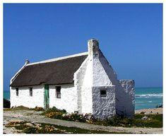 fisherman cottages along the western coast (South Africa) Irish Cottage, Cottage Art, White Cottage, Cottage Living, Fishermans Cottage, Cape Dutch, Cape Town South Africa, Western Coast, Stone Houses
