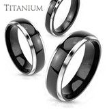 Dad & Boys??/ <3 <3 Tuxedo– Refined Elegance Solid Titanium Silver and Black Comfort Fit Wedding Band