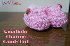 Crochê Tricô: Sapatinho Charme Candy Girl - Tamanho 17 (10 à 12 ...
