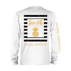 Simply Southern Prep Pine Longsleeve T-shirt WHITE
