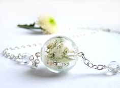 Swarovski Crystals Imitation adorns Necklace with real flowers, Hand-made Botanical jewelry, Bridesmaid Gift, nature, collier
