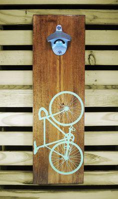 Wood Wall Mount Beer Bottle Opener Bicycle in mint green — Coffee Diem Dry Goods