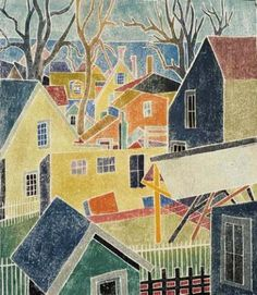White-line color woodcut: Backyards, Provincetown, Blanche Lazzell, 1926.