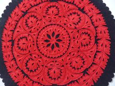 Vintage New Hungarian Felt Doily by TickleAndFinch on Etsy