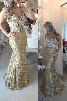 Sheath/Column Jewel Sweep/Brush Train Lace Prom Dress