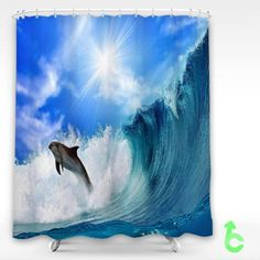 cheap dolphin jumping in the waves shower curtain