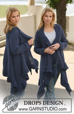 Handkerchief hem open sweater. Beautiful! Pattern sizes up to XXXL