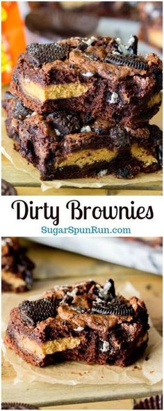 Easy Cake Recipes : Dirty Brownies - Peanut Butter Mug Oreo Brownies via Sugar Spun Run Köstliche Desserts, Delicious Desserts, Dessert Recipes, Yummy Food, Bar Recipes, Cream Recipes, Fudge Recipes, Health Desserts, Candy Recipes