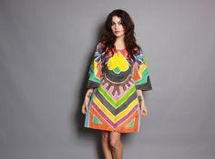 70s Hand PAINTED DRESS / Ethnic Kimono Sleeve Tunic Mini Dress on Etsy, $95.00