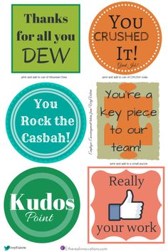 Free Printable Tokens to print for employee encouragement recognition engagement office humor Thanks, Like it, team, Kudos