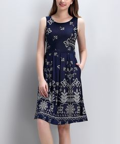 Loving this Navy Picotage Sleeveless Fit & Flare Dress on #zulily! #zulilyfinds