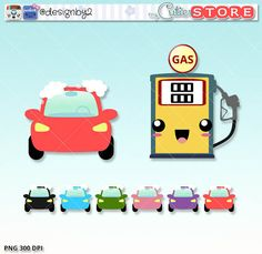 Gas station and car wash kawaii clipart. Planner stickers