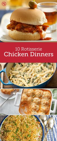 Jumpstart dinner by starting with a pre-cooked rotisserie chicken and have a hearty family meal on the table in a jiff. Whether you're craving a creamy casserole, a twist on Mexican night or a cozy soup, these recipes dinners start with one budget-friendly ingredient: rotisserie chicken.