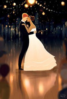 Ilustración pareja el día de su boda