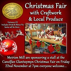 Meirion Mill Christmas Fair - Facebook Promote Your Business, Business Marketing, Wales, Christmas Bulbs, Designers, Social Media, Facebook, Website, Holiday Decor
