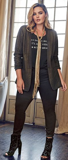 I would wear this jacket nonstop, and probably the scarf, too. Plus Size Outfit - Shop the Look Look Plus Size, Plus Size Women, Curvy Girl Fashion, Plus Size Fashion, Plus Size Rocker, Fall Fashion Trends, Autumn Fashion, Fashion Moda, Womens Fashion