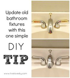 10 Home Improvement Ideas: How to work with what you have! Awesome ideas! Rather than spend hundreds of dollars on new bathroom fixtures, we used a few simple paint tricks to completely update our once outdated two-toned bathroom fixtures! It's still holding up over a year later.