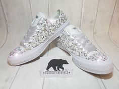 b16e17547d3f Luxury Custom Converse Fully Covered In Pearls And Swarovski Crystals