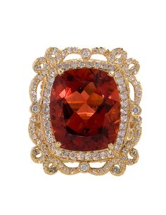 18k Gold and Diamond Garnet Cocktail Ring by Erica Courtney®