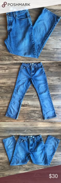 Vintage GAP Denim Jeans Boot cut; button fly; previously worn; writing on tag has worn off, they are either a 6 ankle or a 8 ankle GAP Jeans Boot Cut