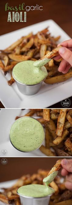 Basil Garlic Aioli sauce made from scratch only takes a few easy minutes and the result is a flavorful dip or spread that packs a real raw garlic punch. #basil #garlic #aioli #basilaioli #garlicaioli #basilgarlicaioli #homemadeaioli