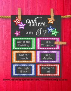 Good for classroom use. School Counselor: This printable poster/sign would be great for a school counselor's office door. It features chalkboard background with color chevron boxes: Where is the Counselor? School Nurse Office, School Counselor Office, Psychologist Office, School Social Work, School Counseling, School Nursing, Counseling Office Decor, Classroom Decor, School Classroom