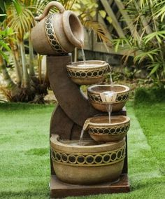 Chic Concrete Pitchers Fountain by Luxen Home Patio Garden Furniture from top store Barrel Fountain, Patio Fountain, Diy Garden Fountains, Outdoor Fountains, Water Fountains, Cascade Water, Tiered Garden, Outdoor Living Areas, Outdoor Gardens