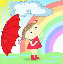 Resultado de imagen para girl with umbrella under rain clipart